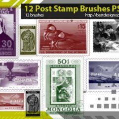 12 Exclusive Postage Stamps Photoshop Brushes