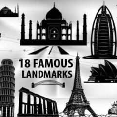 18 Famous Landmark, Buildings Clip Art Brushes