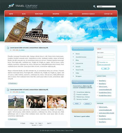 cool dreamweaver templates - travel website template 25 designs to download