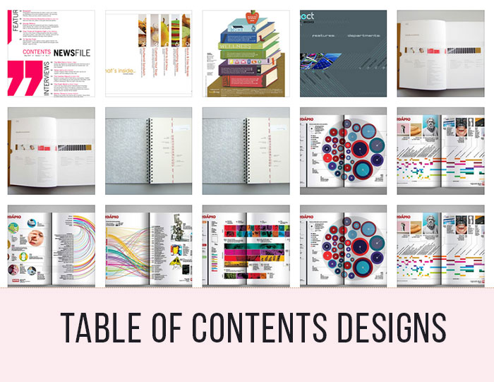 Table of contents design 30 excellent examples from for Table design sample