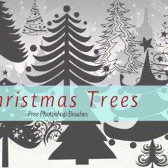 Free Christmas Tree Clip Art Photoshop Brushes