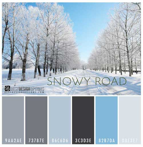 Monochromatic Palette winter colors: 9 palettes for web and print designs