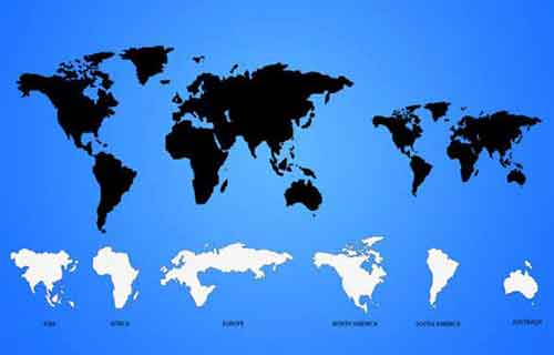blank map of the world showing countries with names
