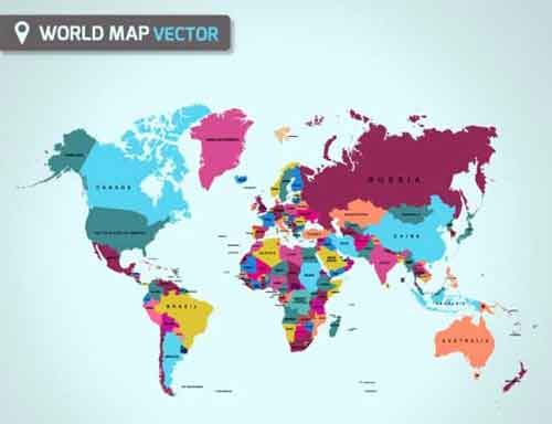 Vector World Map Files For Free Download - World map and labels