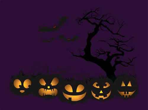 Halloween Poster Template. vector glowing 3d pumpkin set on wood ...