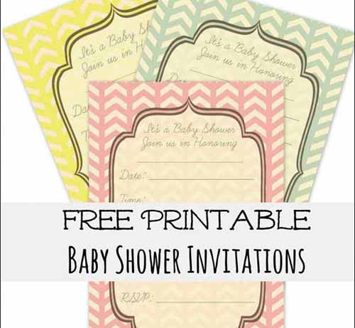 Shower Invitation Cards 35 Sets of Printable Templates to Download – Free Baby Shower Invitation Cards