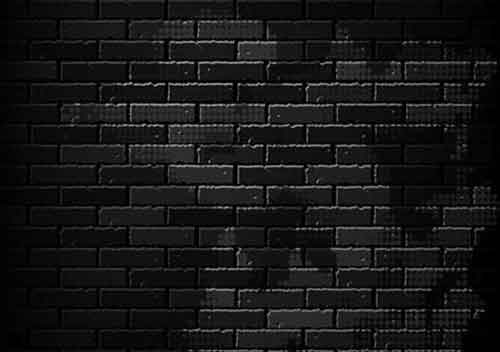 Square Tile Illustrating A Very Dark Brick Wall Aged Or Colored Building Blocks With Abstract Patterns Circles And Darkened Corners