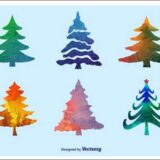 30 Sets of Free Christmas Tree Clip Art Vectors