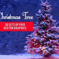 30 Sets of Free Christmas Tree Clip Art Vectors