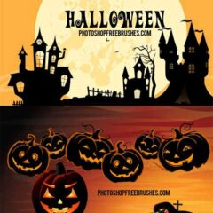Halloween Brushes: Haunted Houses and Pumpkins