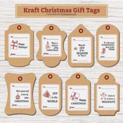 Free Printable Christmas Gift Tags in Brown