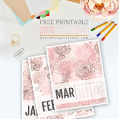 2 Sets of Free Printable 2016 Calendars in Pink