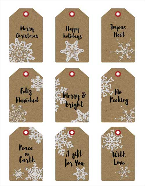 Printable christmas gift tags featuring kraft paper texture printable christmas gift tags negle Image collections