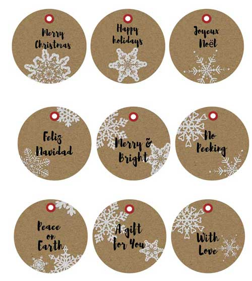 Printable Christmas Gift Tags Featuring Kraft Paper Texture