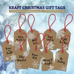 Free Printable Christmas Gift Tags in Kraft Paper