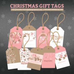 2 Sets of Free Christmas Gift Tags in Pink and Blue