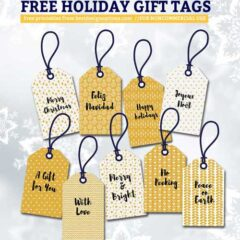 Free Holiday Gift Tags, Labels, Ribbons in Glittery Gold