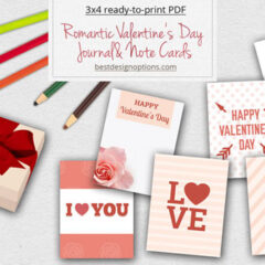 6 Free Simple Valentine Cards and Gift Tags in Pink