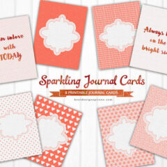 8 Printable Note Cards for Journaling in Glittery Orange