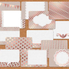 14 Free Printable Cards, Gift Tags in Rose Gold