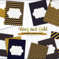 30 Free Journaling Cards in Navy and Gold