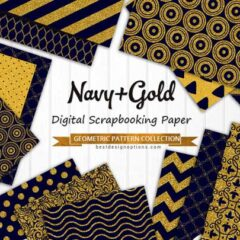 30 Scrapbooking Paper in Sparkling Navy Blue and Gold