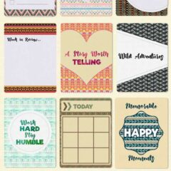 Journaling Cards, Gift Tags and Washi Tapes with Tribal Background