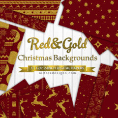 13 Christmas Backgrounds in Red and Gold Patterns