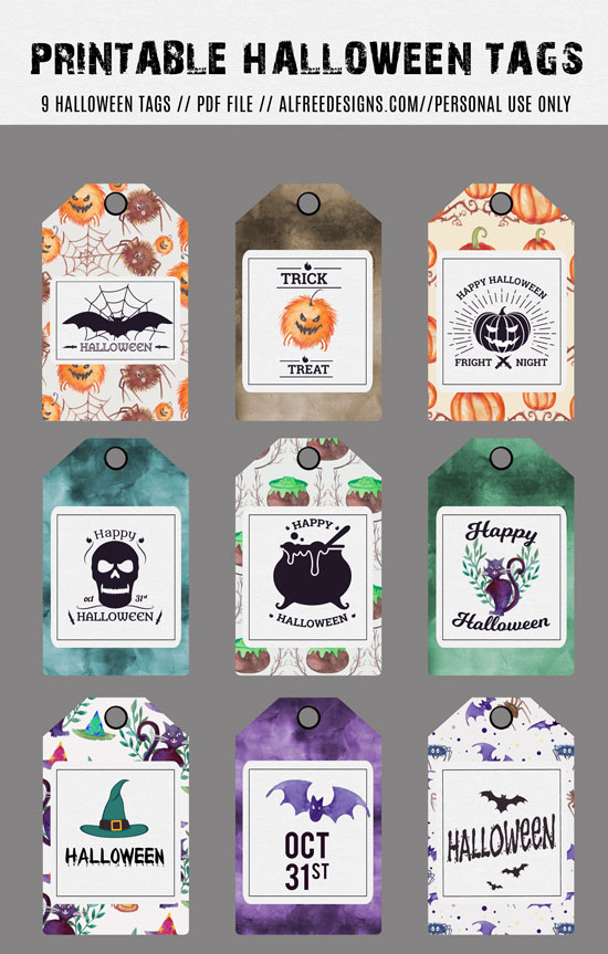 Free halloween cards and gift tags for your parties free halloween cards download now download printable tags negle Image collections