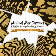 Animal Fur Textures: 17 Printable Papers in Black and Gold
