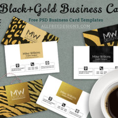 Free Business Card PSD Templates in Black and Gold Jungle Theme