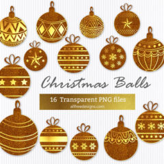 Holiday Clip Art: 18 Free Gold Christmas Balls in PNG Format
