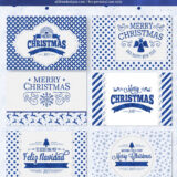 Free Printable Christmas Cards in Sparkly Blue Designs