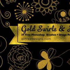 39 Swirls and Flowers Clip Art Photoshop Brushes + PNG Image Pack