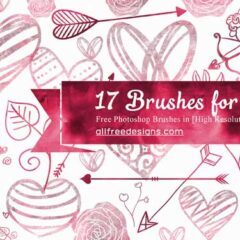 17 Large Valentine Hearts, Flowers, and Arrows PS Brushes