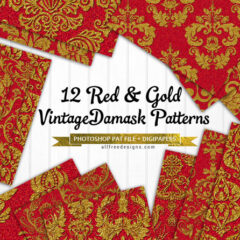 12 Vintage Background Patterns Featuring Damasks in Red and Gold