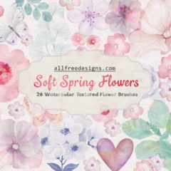 Watercolor Flowers: 26 Soft Spring Flower PS Brushes