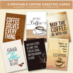 6 Free Coffee Greeting Cards and Printable Tags