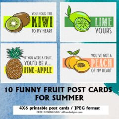 10 Printable Post Cards Featuring Romantic Fruit Puns and Pick Up Lines