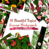 Summer Backgrounds: 16 Tropical-Inspired Seamless Patterns