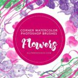 Corner Photoshop Brushes: 16 Big Watercolor Floral Designs