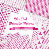 Pink Watercolor Pattern Backgrounds: 22 Printable Digital Papers