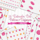 28 Watercolor Pink Polka Dots Patterns and Printable Papers
