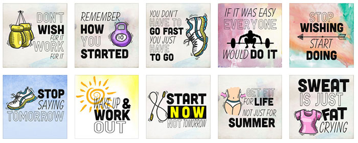 fitness motivation cards