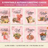 8 Printable Autumn Greeting Cards in Pastel Watercolor Style