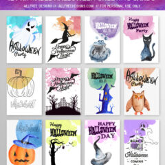 Halloween Greeting Cards: 12 High-Quality Printable Designs