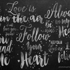 Valentine Label Brushes: 29 Romantic Phrases for Your Designs