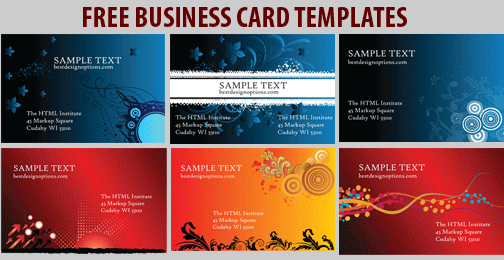 Free business card templates 6 colorful designs 6 free business card template designs friedricerecipe Gallery