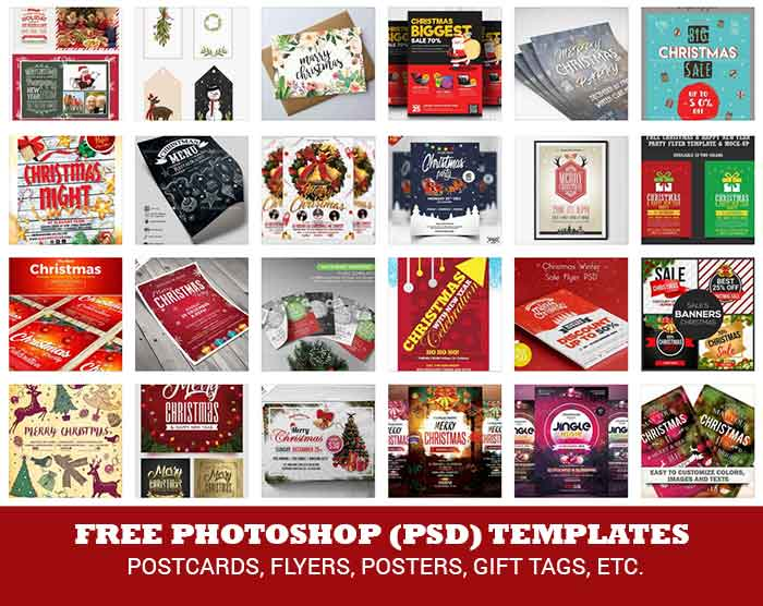 Christmas Photoshop Templates 25 Postcards Party Flyers