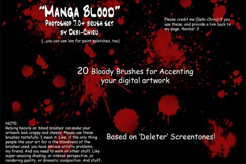 Blood Splatter Brushes for Creating Grungy Backgrounds